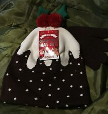 KIDS CHRISTMAS HAT AND GLOVE SET WITH CHRISTMAS PUDDING THEME FROM B&M