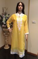 "40"" M-L Kurti Jeans Top Boho Kaftan Bollywood Indian Kurthy Tunic Yellow K29"