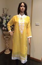 "40"" M-L Kurti Jeans Top Boho Kaftan Bollywood Indian Kurthy Tunic Yellow K29"