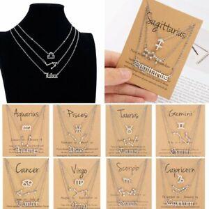 3Pcs Constellation Silver Zodiac Pendant Necklace Women Choker Jewelry Fashion