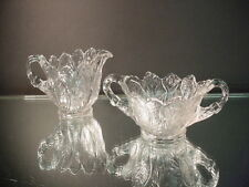 Rare Cambridge Glass Everglade Crystal Footed Creamer & Sugar Elegant Glass 1930