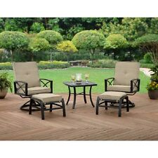 5 Piece Patio Furniture Conversation Set Outdoor Leisure Ottoman Swivel Chairs