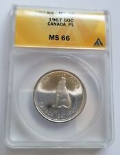 1967 CANADA .800 SILVER 50 CENTS PROOF LIKE MS66 CAMEO HOWLING WOLF