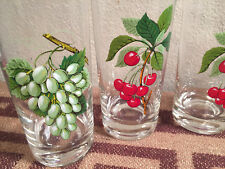 1970's 8pc Set Hi Ball Glasses West Virginia Glass Fruits EUC original box USA