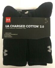 New Under Armour Charged Cotton 2.0 Black Crew Socks - 6 Pack