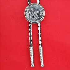 """US 2003 Alabama State Quarter BU Coin Silver Plated Slide 36"""" Cord Bolo Tie NEW"""