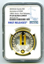 2018 $1 CANADA GILT SILVER DOLLAR ARMISTICE WWI NGC PF69 UC PROOF FIRST RELEASES
