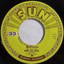 JERRY LEE LEWIS: BREATHLESS VG+ SUN ORIG 45 nice HEAR IT!