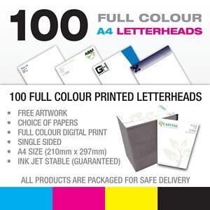 A4 Letterheads x 100 - Full Colour Digital Print on 120gsm - Free Design + P&P