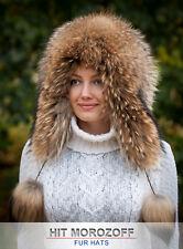 FINN RACCOON FUR Eskimo Hat Winter Schapka Pelzmütze Fellmütze Waschbär Pom-Poms