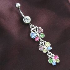 Belly Button Naval Ring Body Multicolor Chandelier Style Three Butterfly Dangle