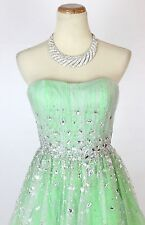 NWT Jovani Size 4 Short Knee Length Evening Strapless $300 Cruise Lime Prom Gown