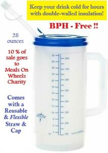 Insulated Hospital Medical Drinking Cup with Handle, Lid & Flexible Straw, 28 Oz