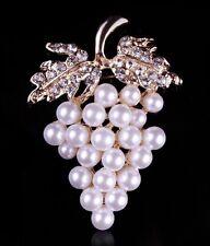 Elegante spilla di Perla Strass Gioielli d'uva sciarpa del seno PIN HOT FASHION