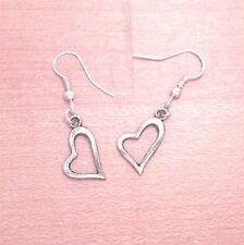 925 Sterling Silver Hooks Vintage Silver Alloy Small Dangle Love Heart Earrings