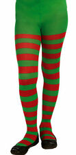 Child Red and Green Striped Tights Christmas Elf Girls Size Medium 8-10