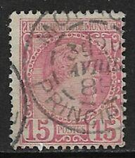 MONACO 1885 Charles III 15c Rose SG 5 Used (CV £33)