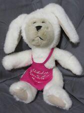 1998 Starbucks Bearista Bear Plush Stuffed 3rd Edition White Bunny w/Pink Apron