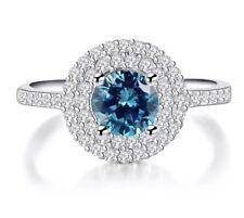 925 Sterling Silver Blue Topaz Engagement Ring 7 Women's December Birth Stones