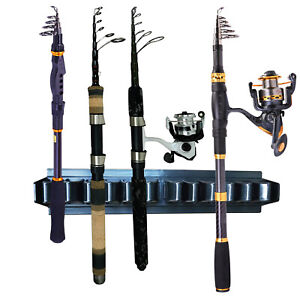 Fishing Rod Rack Stand - Fishing Holder Holds 10 Fish Rods - Wall Storage Stand