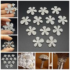 "Lot 12 Silver Crystal Brooches (No Pin, Flat Back) DIY Wedding Bridal Bouquet 1"""
