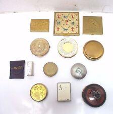 Vtg. Lot of 11 Powder/Rouge Compacts & Lipstick Case/Mirror - Tortoise Gold Et.c