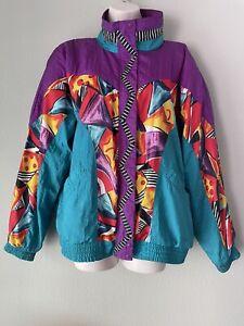 80's Vintage Windbreaker Tracksuit, Jacket / Pants, Set,  Multicolored Zip Up, L
