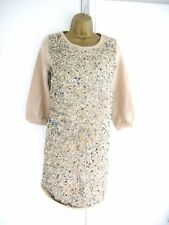 12 RETRO 70'S BEIGE SEQUINED SWEATSHIRT LONG TUNIC TOP / MINI DRESS XMAS PARTY