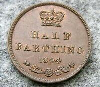 GREAT BRITAIN QUEEN VICTORIA 1844 HALF FARTHING, COPPER TOP GRADE AUNC
