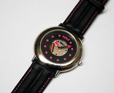 Rare French Kiple Black with hot pink details Metallic Head Leather Wristband