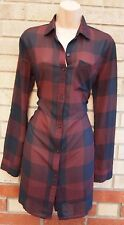 ABERCROMBIE & FITCH BURGUNDY BLACK CHECK TARTAN BUTTONED T SHIRT TUNIC DRESS XS