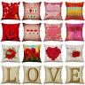 Valentine's Day Cotton Linen Pillow Case Love Sofa Cushion Cover Home Decor