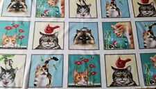 New Elizabeth's Studio Kitty Cat Drama Fabric Panel Quilting Sewing Crafting