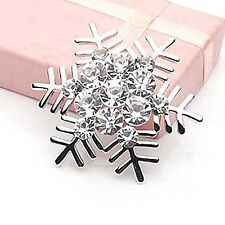 New Silver Snowflake Brooch Pin Diamante Rhinestone Crystal Broach Festival Gift