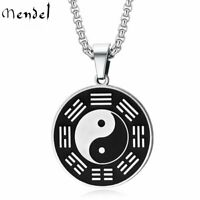 MENDEL Mens Stainless Steel Protection Amulet Yin Ying Yang Pendant Necklace Men