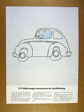 1968 vw beetle drawing V-V-Volkswagen Announces Air Conditioning vintage Ad