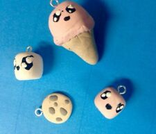 Handmade clay charms, ice cream cone, cookie, marshmallow