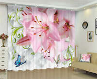 Two Flying Butterflies 3D Curtain Blockout Photo Printing Curtains Drape Fabric