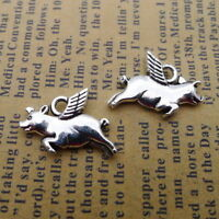 10pcs Charms Happy Pig with Wing Tibetan Alloy Silver Beads Pendant DIY Jewelry