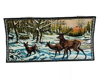 "Vintage Made In Italy 20"" X 38"" Deer Stag Doe Fawn Tapestry Velvet Forest Sunset"