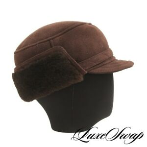 LNWOT Anonymous Chocolate Brown Suede Shearling Fur Lined Ear Flap Winter Hat NR