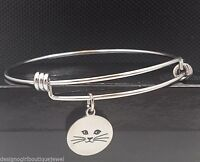 Cat Charm Bangle Bracelet Stainless Steel Expandable Wire Silver
