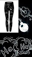 Super Soft Matte Fabric Blackboard Scribbles Leggings Trousers One size UK8-12