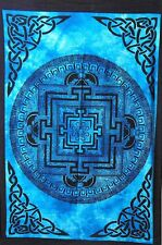 Blue Color Cotton Indian Vastu Yantra Tapestry Poster Handmade Wall Hanging Art