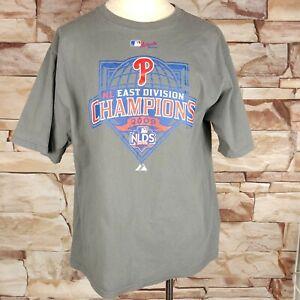 Majestic MLB Philadelphia Phillies NL East Division 2009 Champions Size L Cotton