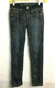 Justice Premium Girls Jeans Simply Low Silver Glittered Dotted Size 10R