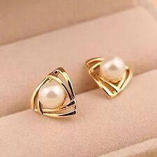 Cute Gold Plated Triangle Pearl Ear Stud Piercing Earrings Fashion Women Ladies
