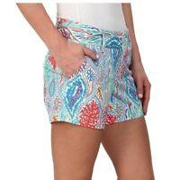 "Lilly Pulitzer 5"" Callahan Shorts Coral Print Women's Sz 2 Colorful Ocean Beach"