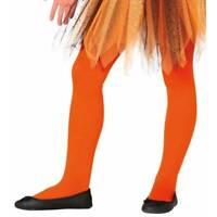Girls Orange Tights Halloween Witch Dance Fancy Dress  Age 5-9 yrs