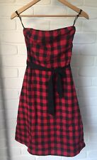 Red & Black Strapless Check Tartan Dress JUNK Size 8 Grunge Emo Rockabilly Punk
